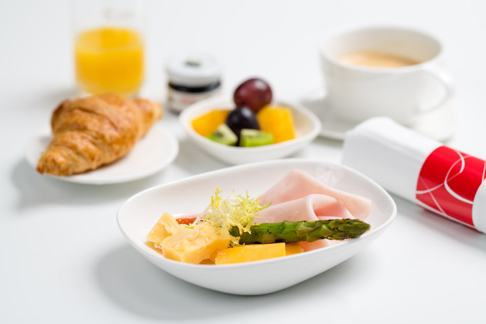 Gourmet Menu - Cold Turkey Breakfast served aboard Czech Airlines flights