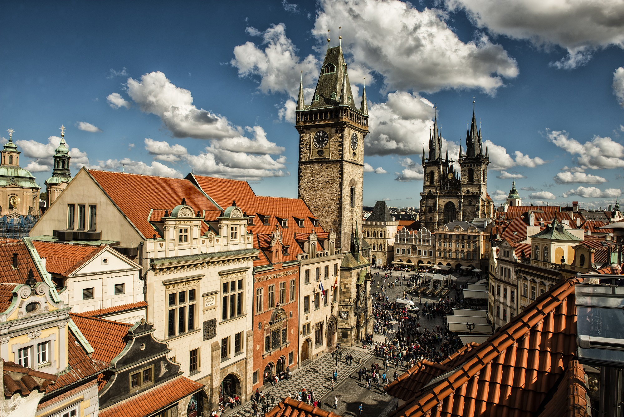 Prague - a view of the Old Town square with Old Town Hall and Astronomical Clock, incl. Tyn Church