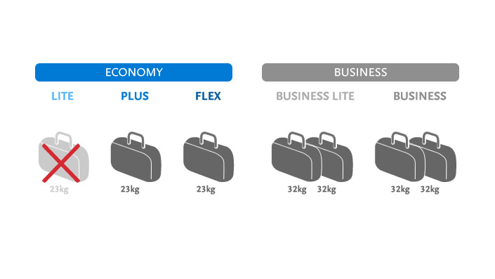 Checked baggage transport on Czech Airlines-operated flights is subject to a fee under the cheapest LITE Economy Class Package