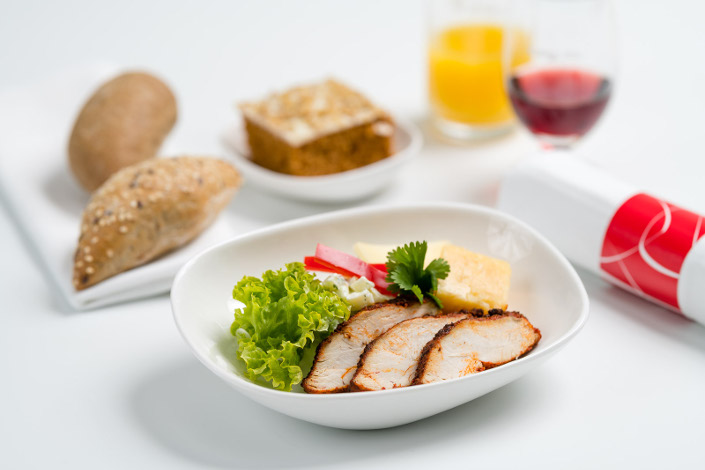 Gourmet Menu - Cold Cajun Chicken Menu served aboard Czech Airlines flights