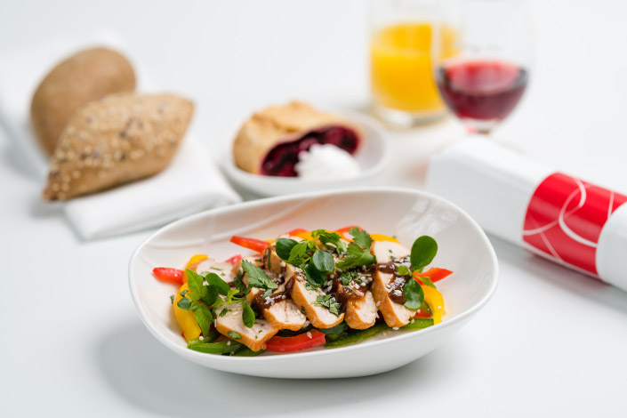 Gourmet Menu - Cold Smoked Chicken Menu served aboard Czech Airlines flights