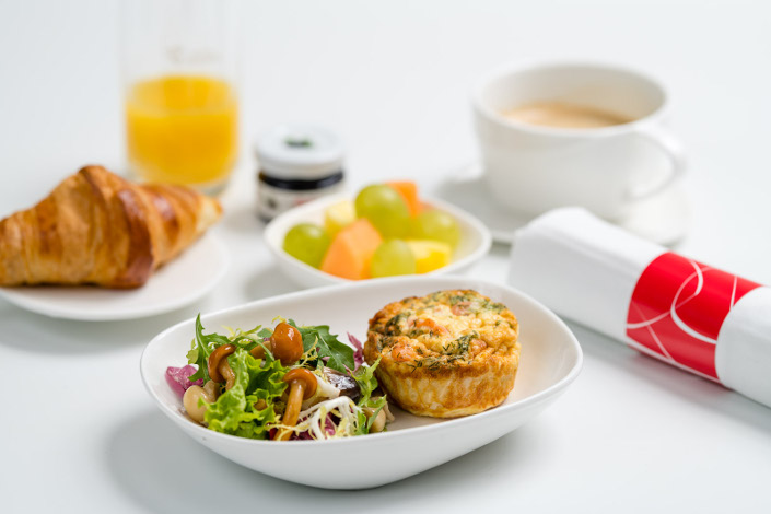 Gourmet Menu - Cold Quiche Breakfast served aboard Czech Airlines flights