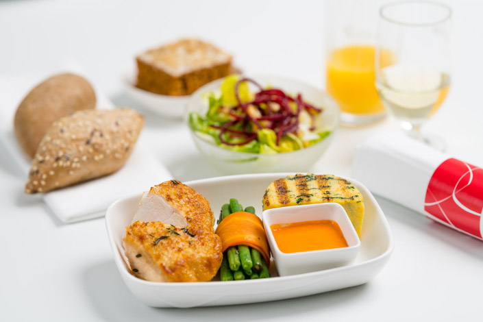 Gourmet Menu - Hot Chicken Menu served aboard Czech Airlines flights