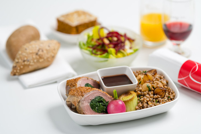 Gourmet Menu - Hot Duck Menu served aboard Czech Airlines flights