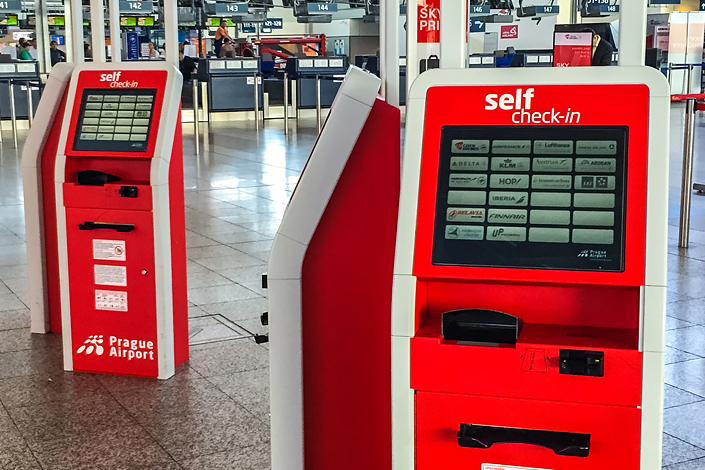 Self-service check-in kiosks at Václav Havel Airport Prague