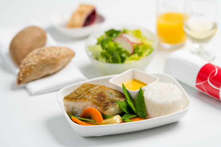Gourmet Menu - Hot Fish Menu served aboard Czech Airlines flights