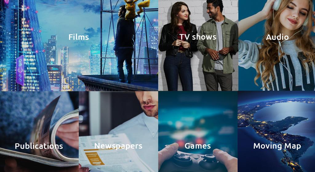 Koláž nabídky palubní zábavy - Filmy, hudba, hry, noviny