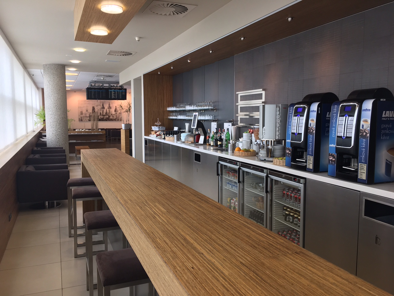 The interior of the Menzies Aviation Lounge at Václav Havel Airport Prague, Terminal 2