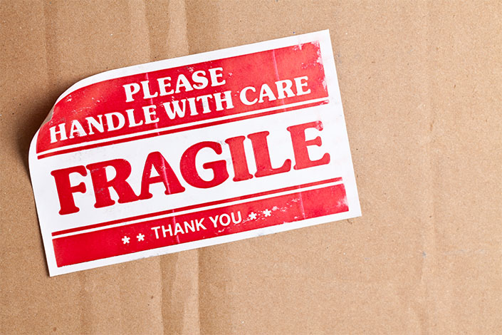 "A box labelled ""Fragile"" for transporting valuable and fragile items on board Czech Airlines flights"