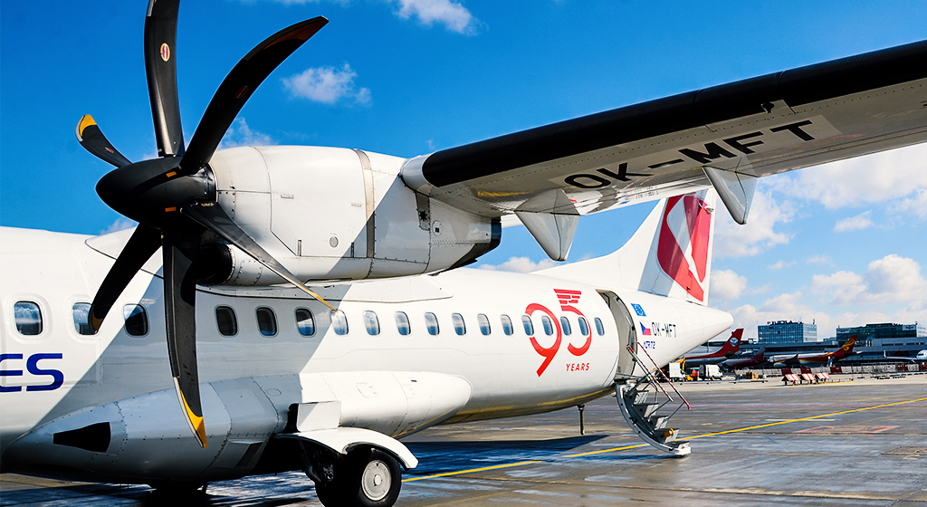 Czech Airlines ATR72 aircraft with a logo commemorating the 95th anniversary of the company's foundation and launch of regular operations
